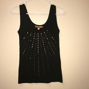 Dark Green tank top with gold embellishment
